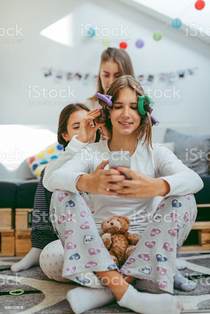 Teenage Girls Sleepover Beauty Treatment stock photo