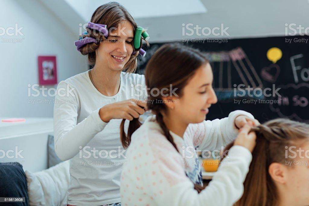 Teenage Girls Sleepover Beauty Treatment. stock photo