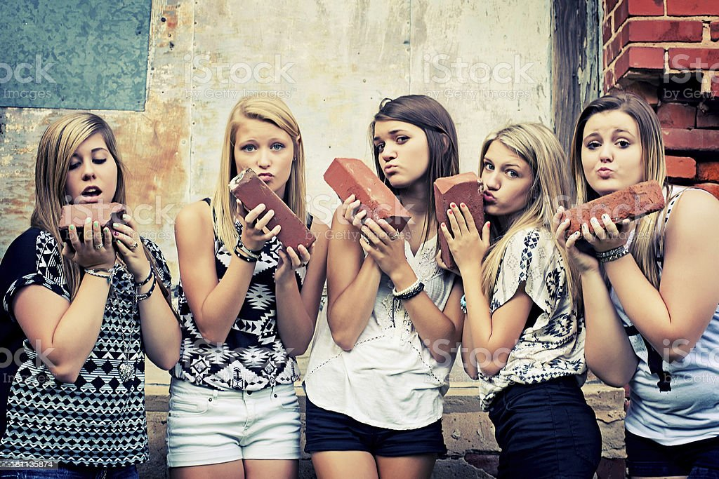 Teenage girls with Funny Face royalty-free stock photo