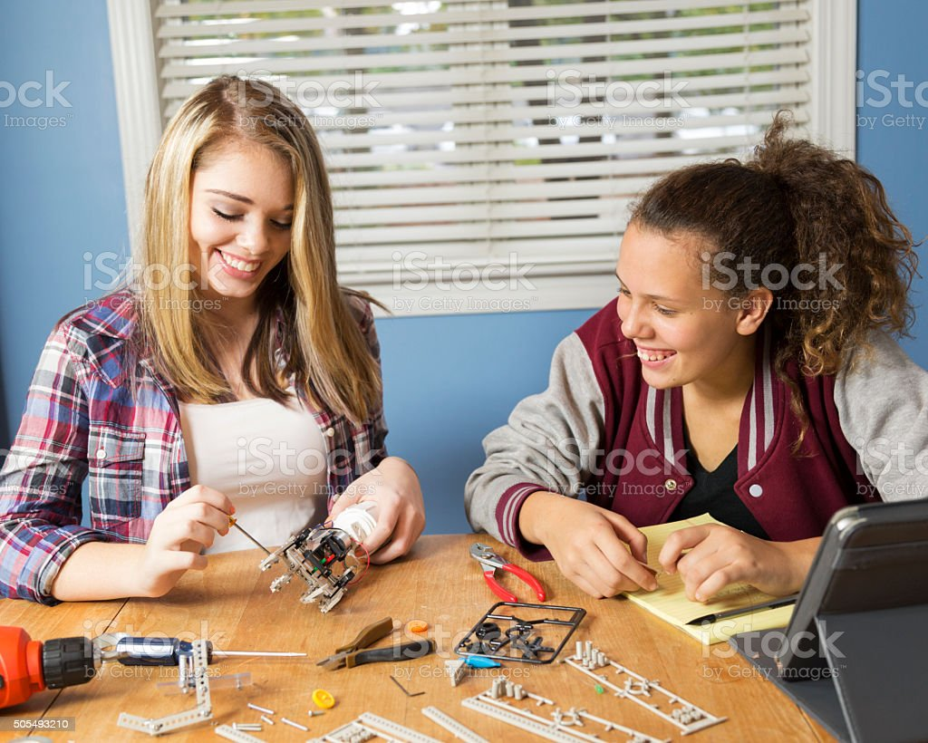 Teenage Girls Work on Science Project stock photo
