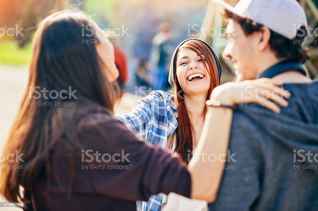 Teenage greeting stock photo