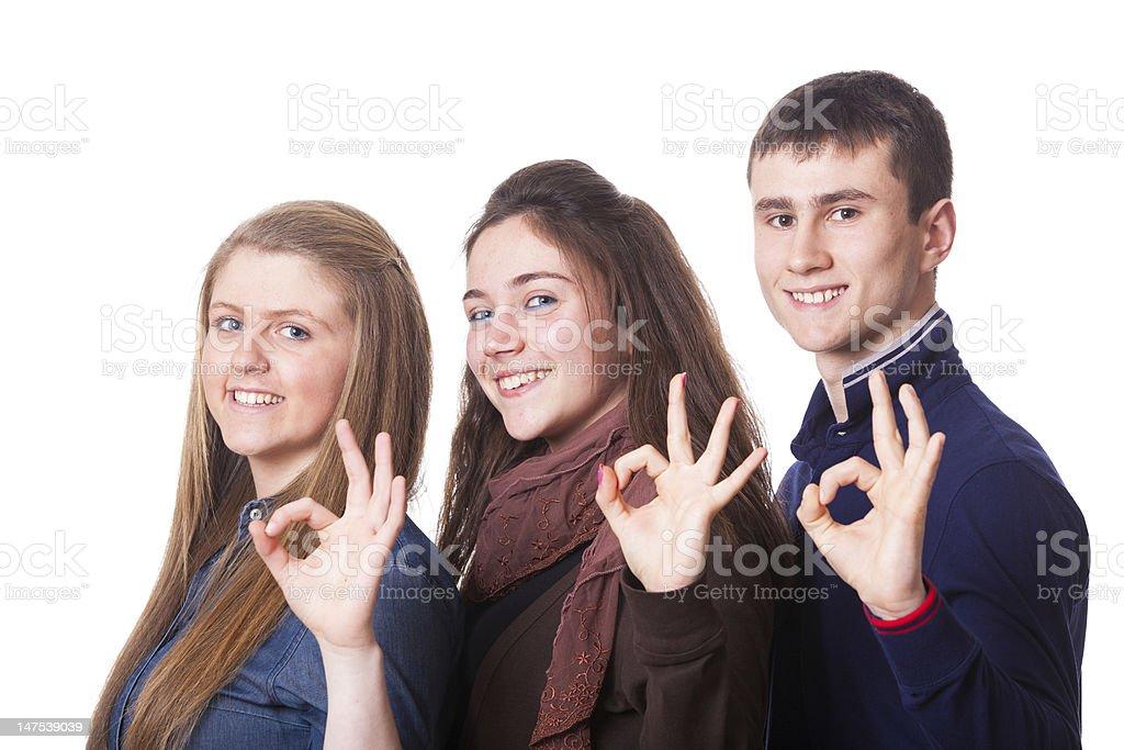 Teenage Group making Hand Sign royalty-free stock photo