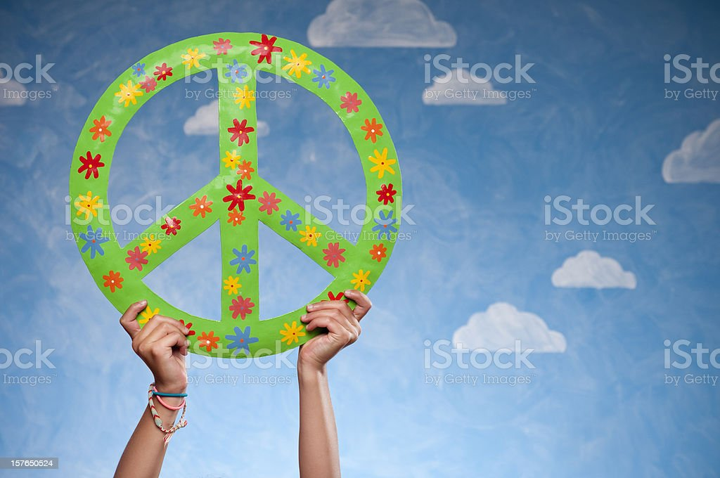 Teenage Hands With Peace Sign royalty-free stock photo