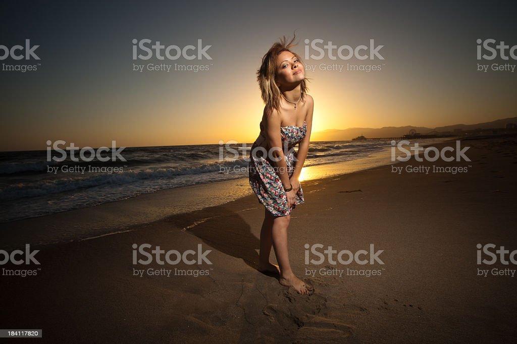Teenage Hispanic Girl at the Beach royalty-free stock photo