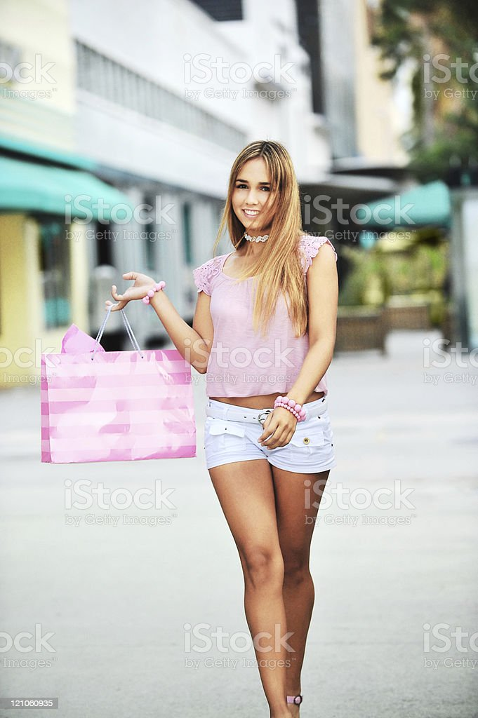 Teenage Hispanic Woman Shopping on Lincoln Road royalty-free stock photo