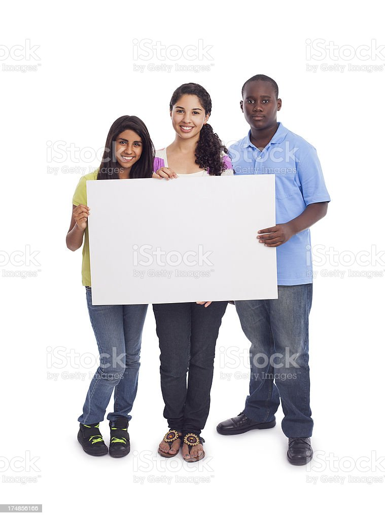 Teenage holding a blank sign royalty-free stock photo