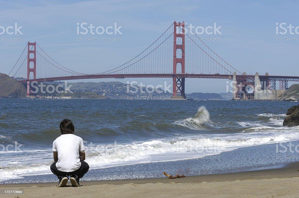 Teenage Latino Boy Looking at Golden Gate Bridge royalty-free stock photo