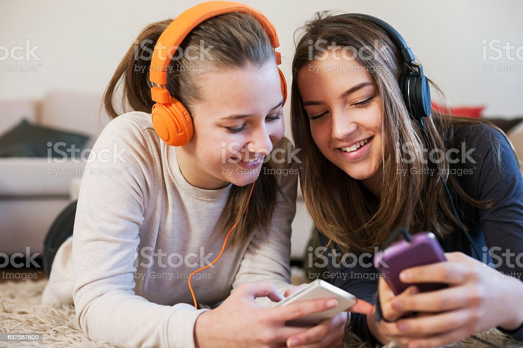 Teenage party with phones stock photo