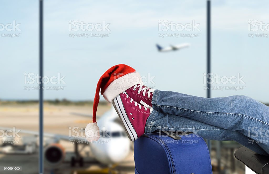 Teenage passenger at the airport stock photo