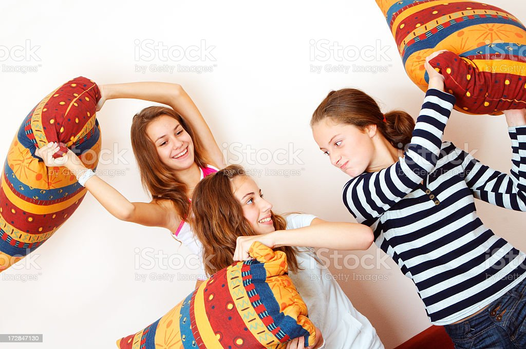 Teenage Pillow Fight royalty-free stock photo