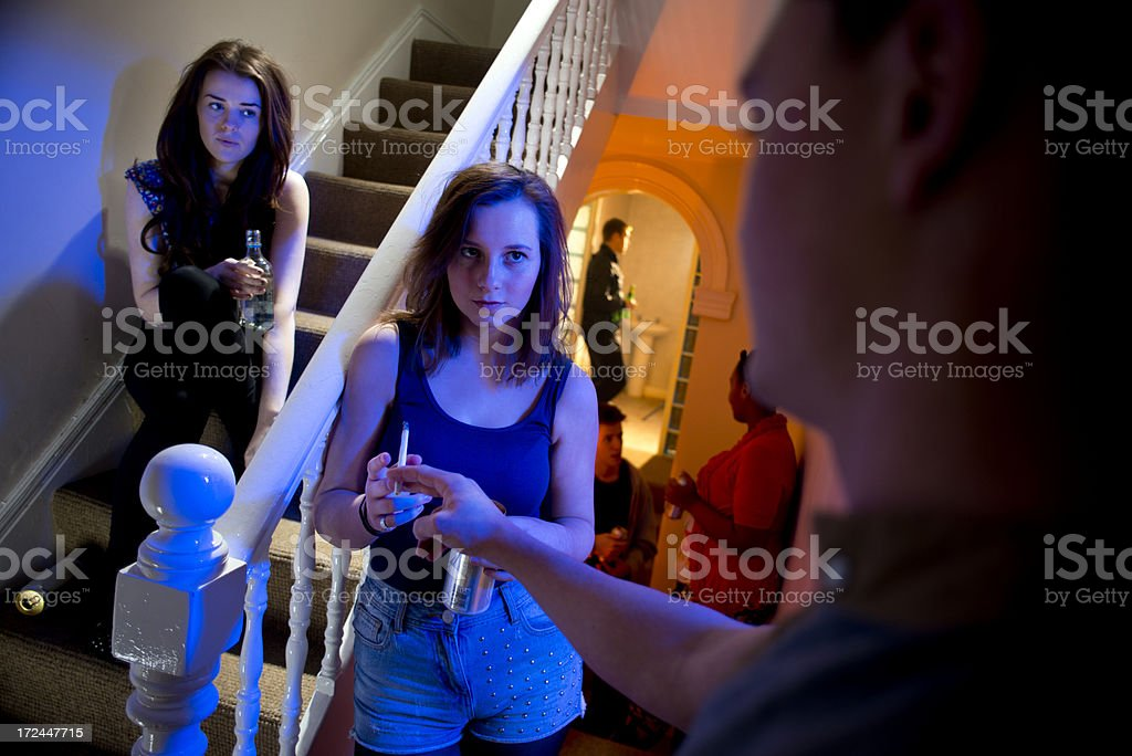 teenage pot and booze at a house party stock photo