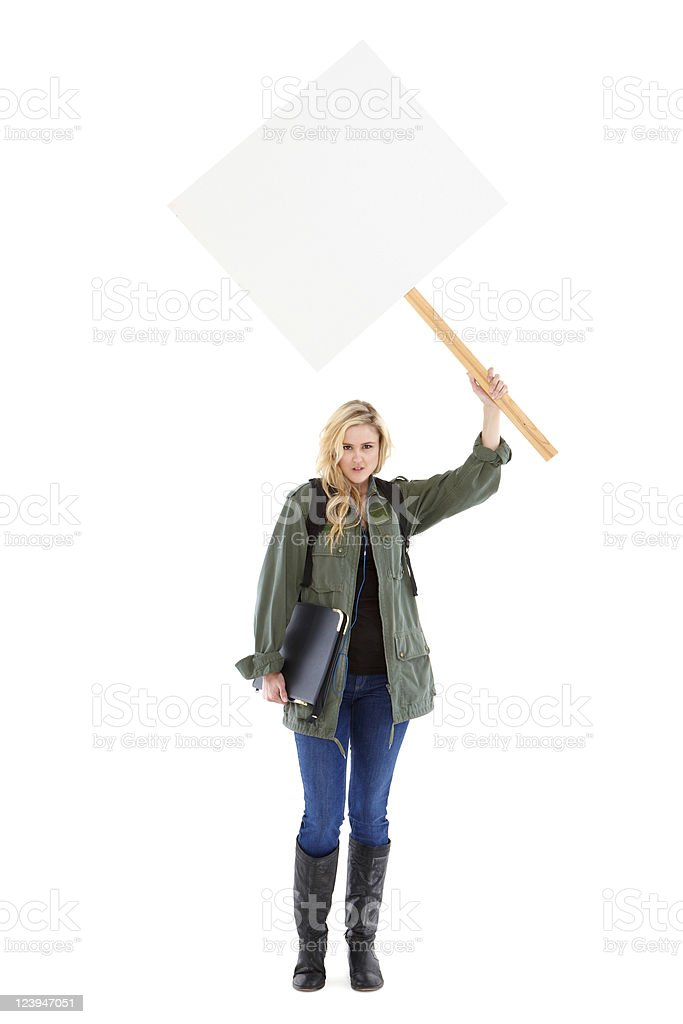 Teenage Protester With a Sign - Isolated stock photo