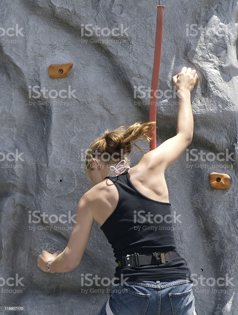 Teenage rock climber royalty-free stock photo