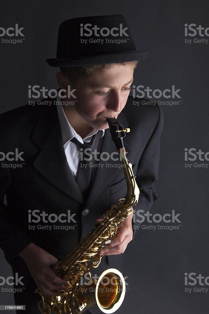 Teenage Saxophonist royalty-free stock photo