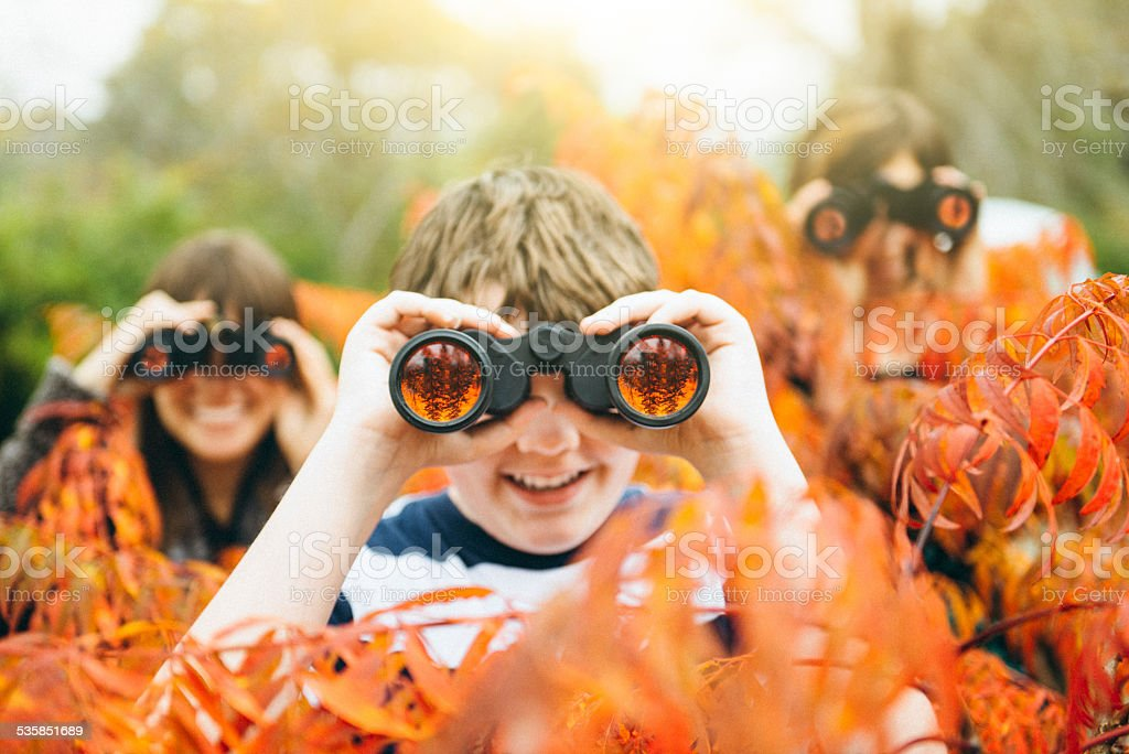 Teenage Scouts summer camp adventure stock photo