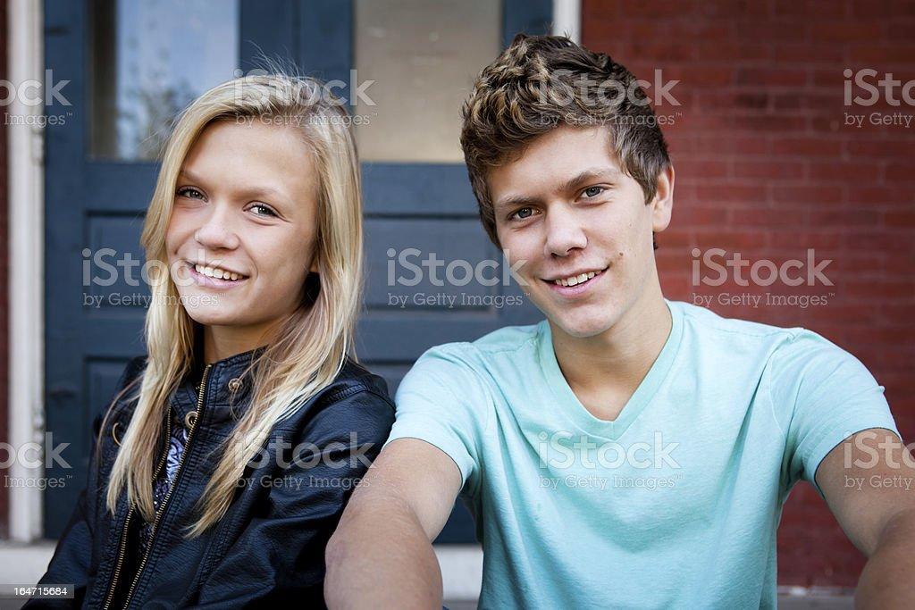 Teenage Siblings stock photo