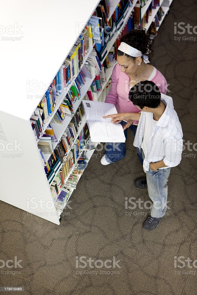 teenage students: library research royalty-free stock photo