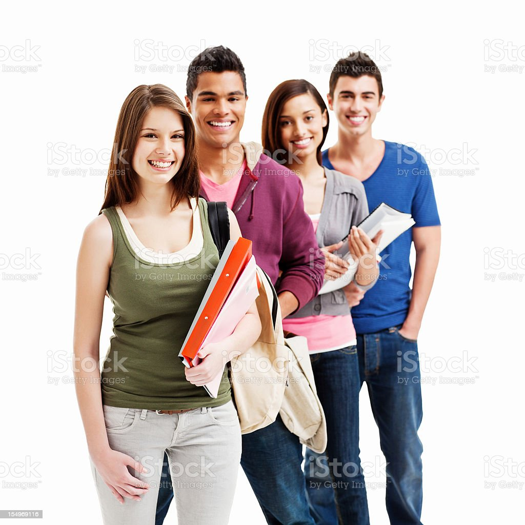 Teenage Students Posing Together - Isolated royalty-free stock photo