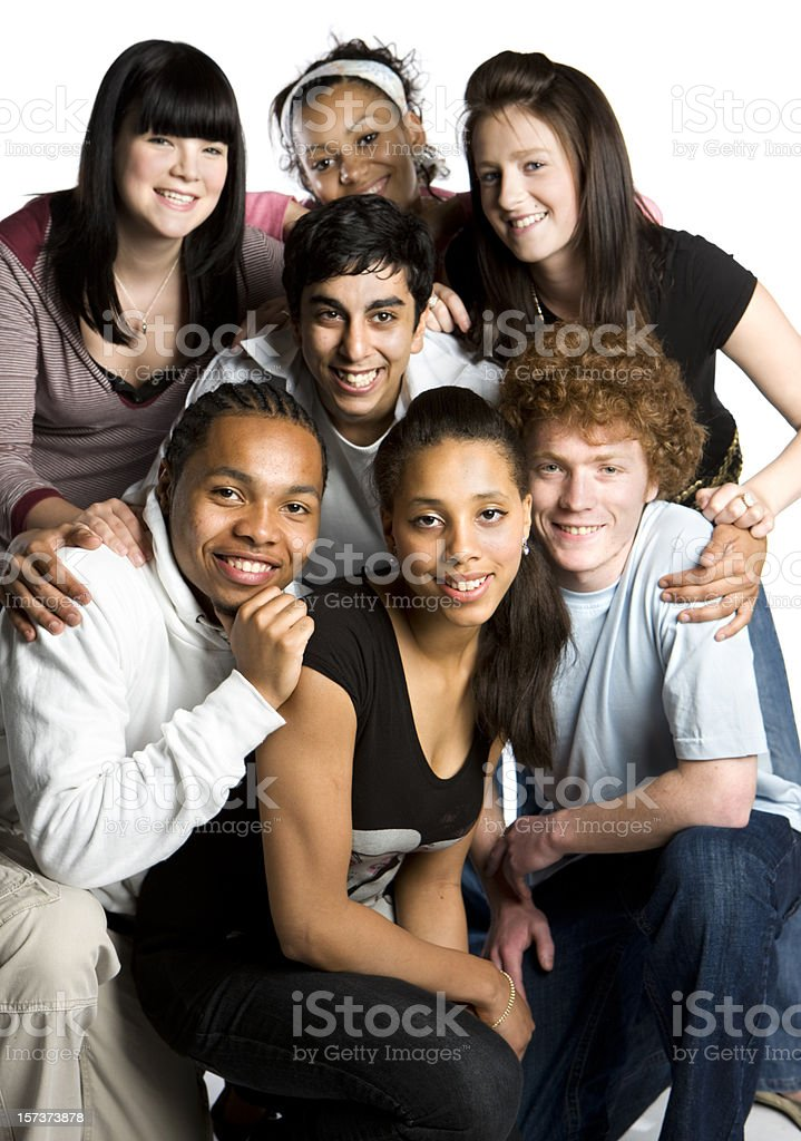 teenage students: school friends posing for a group portrait royalty-free stock photo