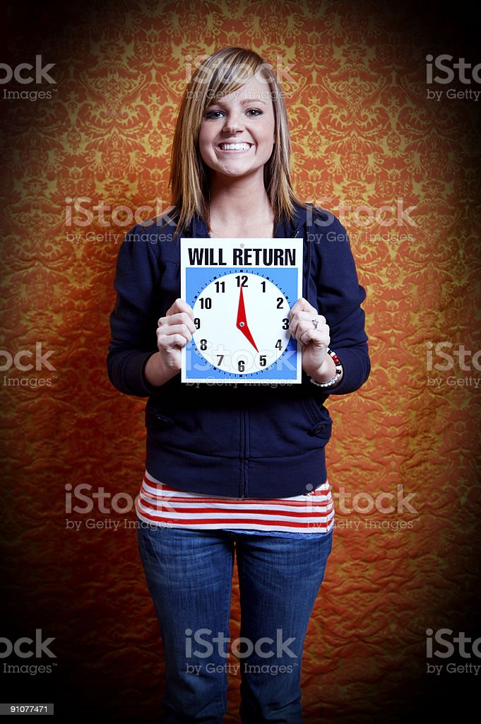 teenage time keeper - five o'clock royalty-free stock photo