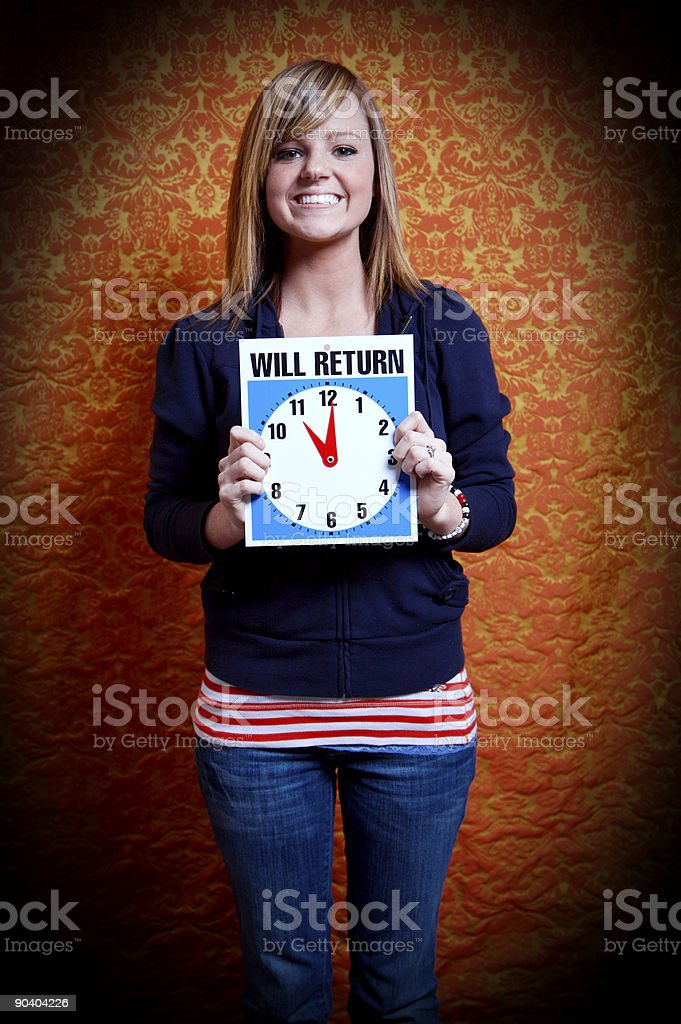 teenage time-keeper - eleven o'clock (time series) royalty-free stock photo