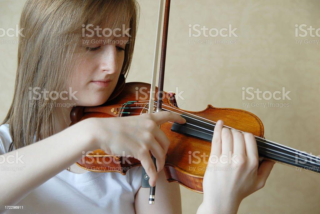 Teenage violinist 2 stock photo