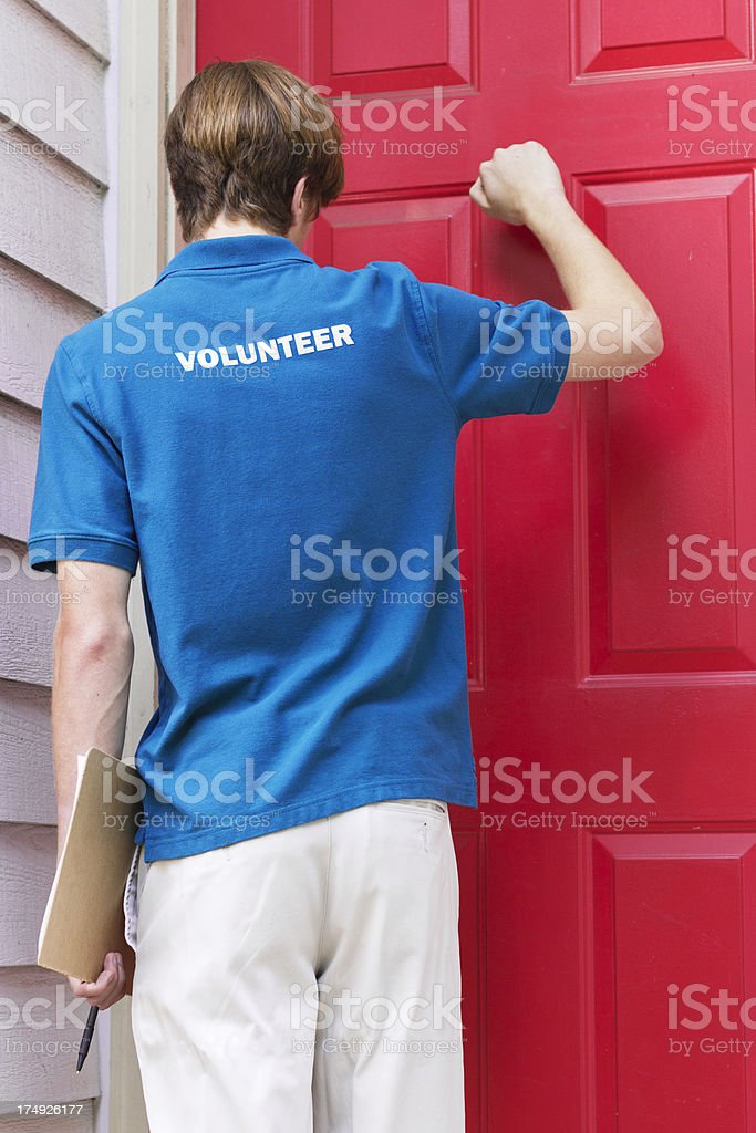 Teenage Volunteer Petitioning or Canvassing stock photo