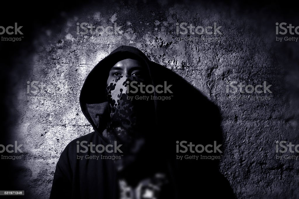 Teenaged gangster stock photo