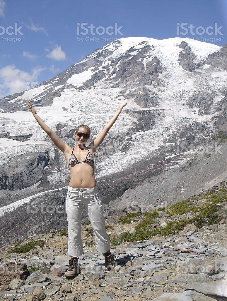 Teenager against mt Rainier royalty-free stock photo
