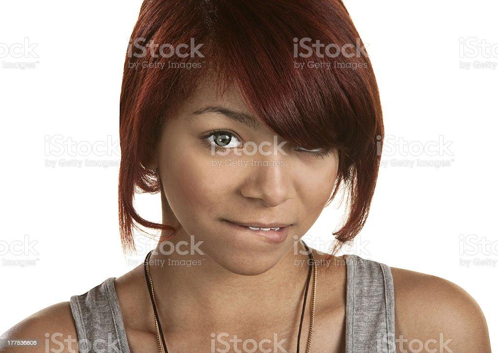 Teenager Biting Her Lip stock photo