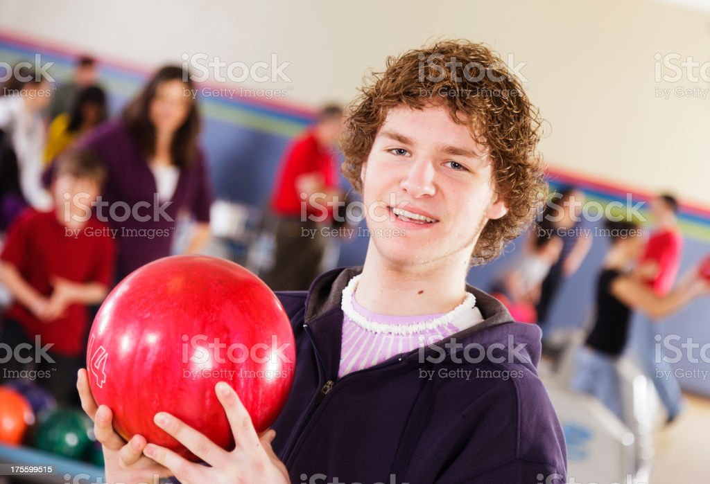 Teenager Bowling stock photo