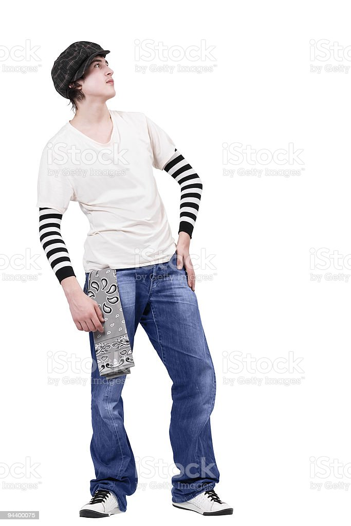 Teenager breakdancer standing and looking up royalty-free stock photo