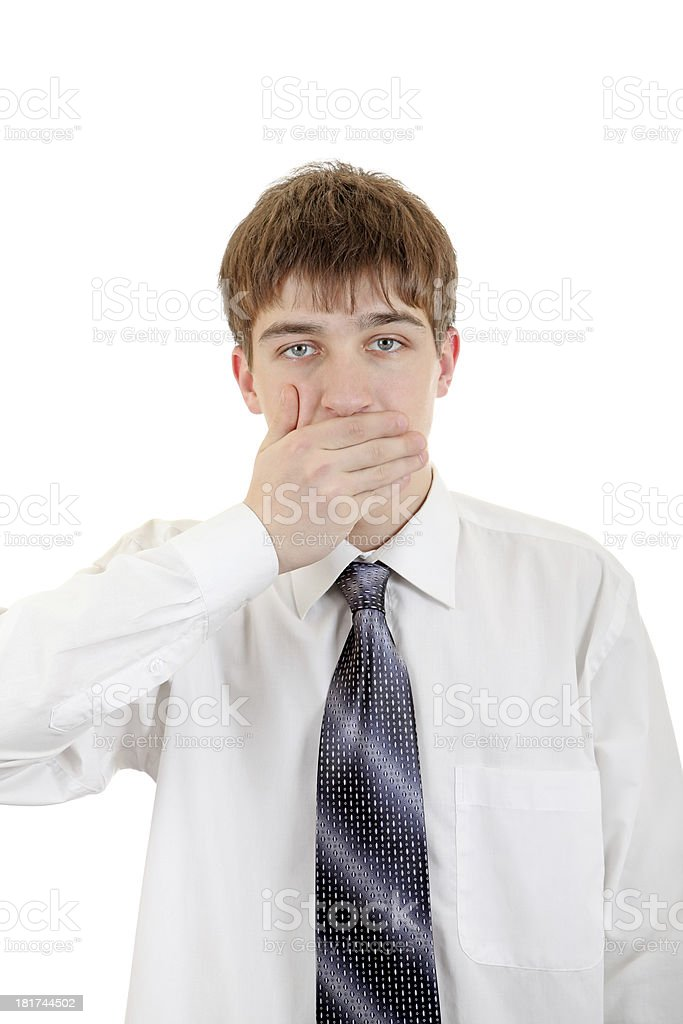 Teenager Close his Mouth royalty-free stock photo