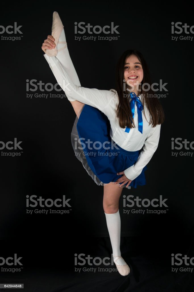 Teenager Dancer With Raised Leg stock photo