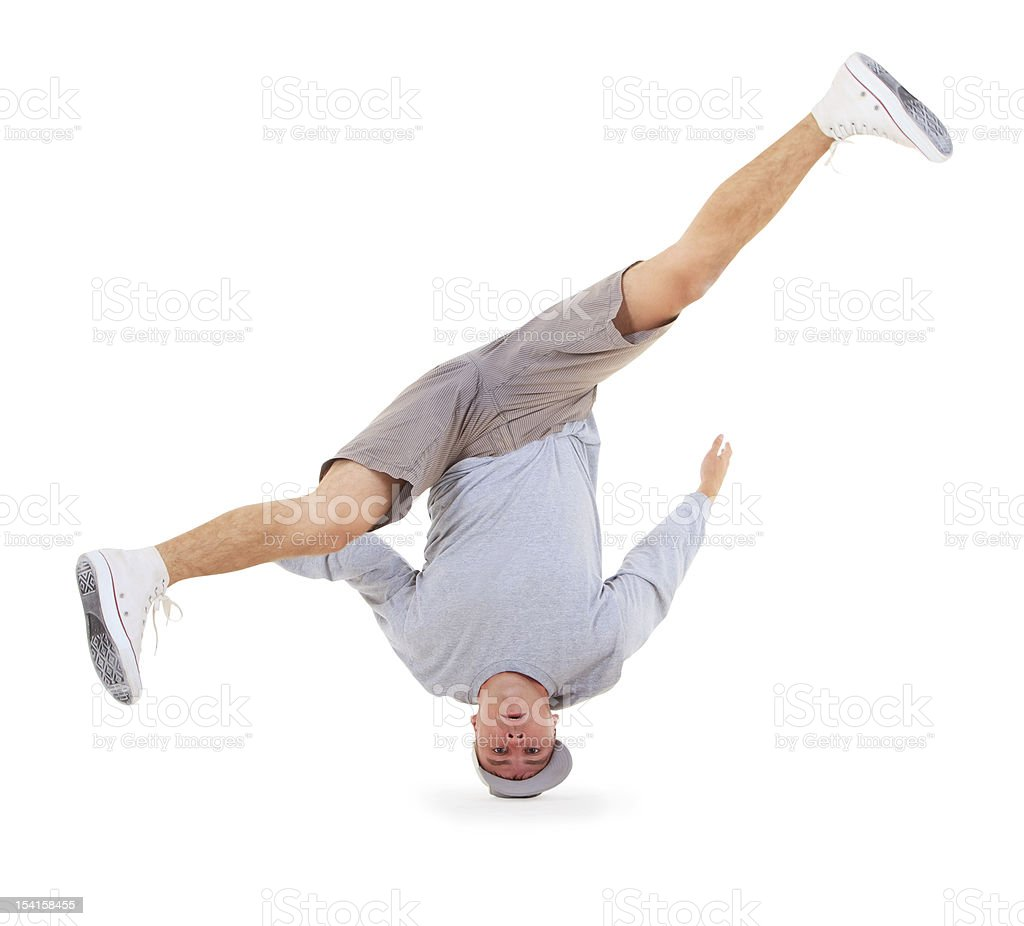 Teenager dancing breakdance in action royalty-free stock photo