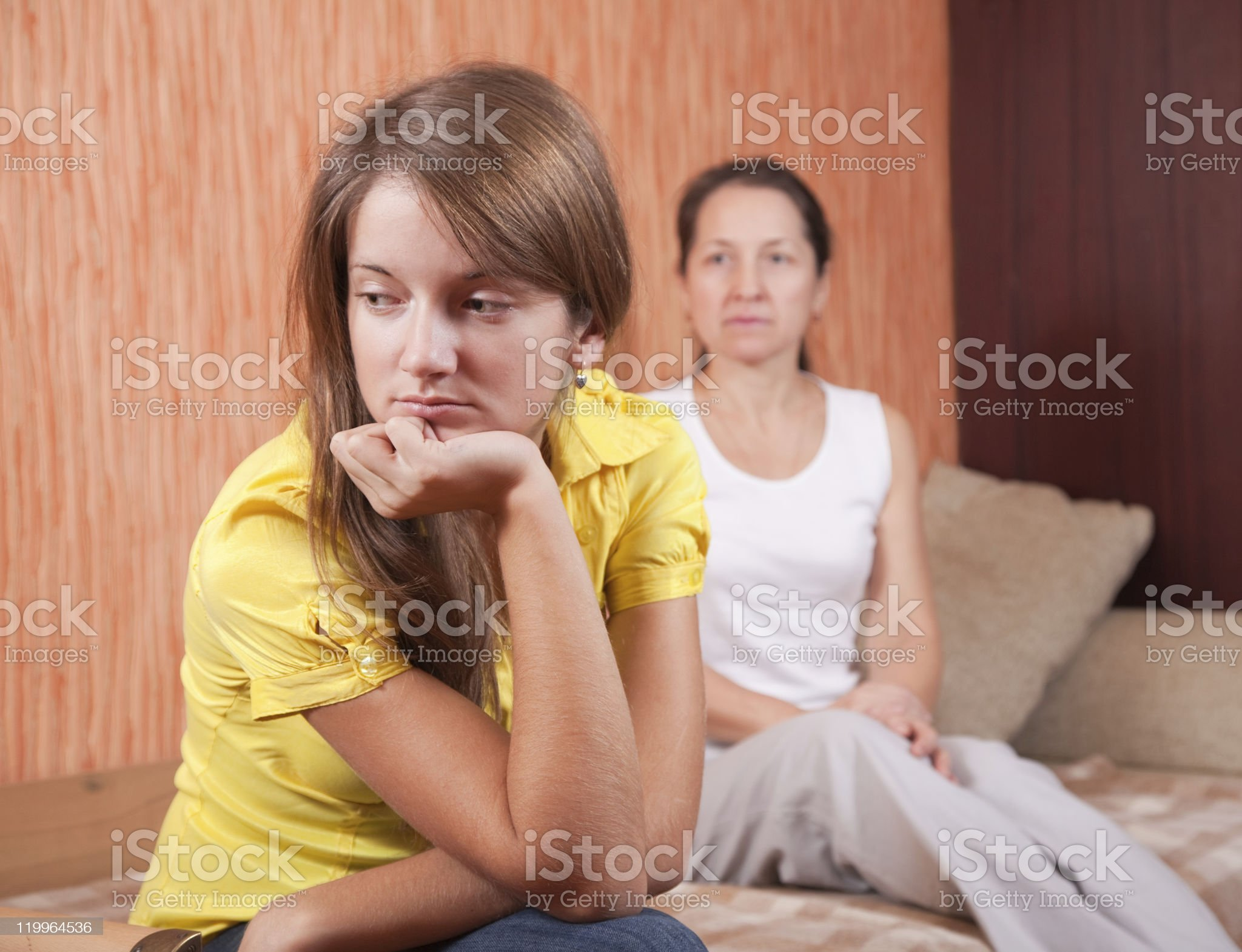 teenager daughter and mother after quarrel royalty-free stock photo