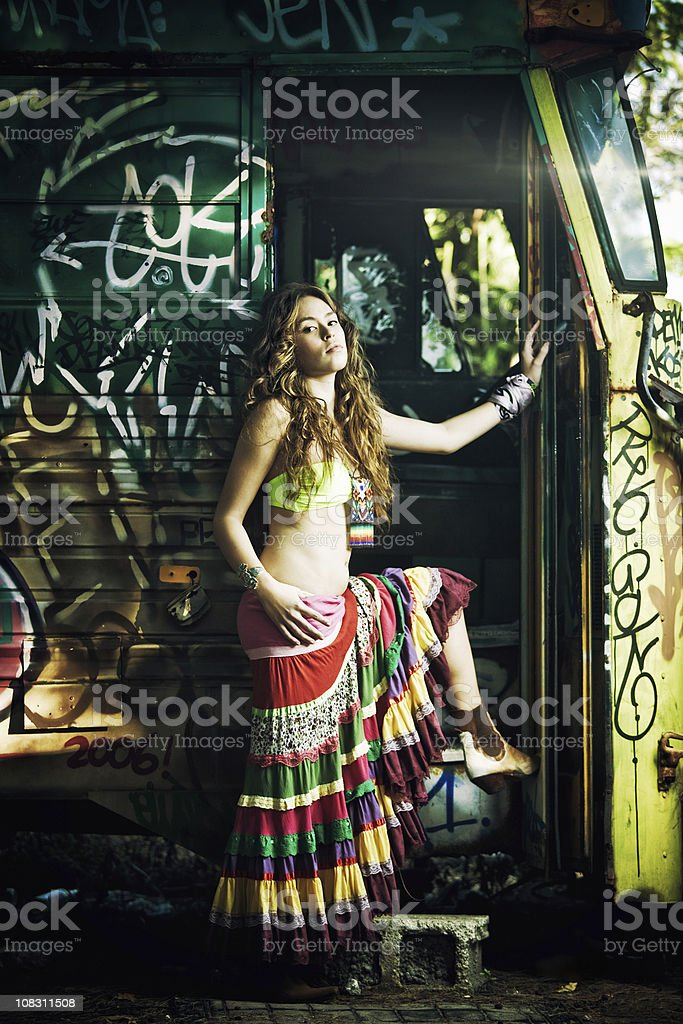 teenager dress as a modern gypsy stock photo