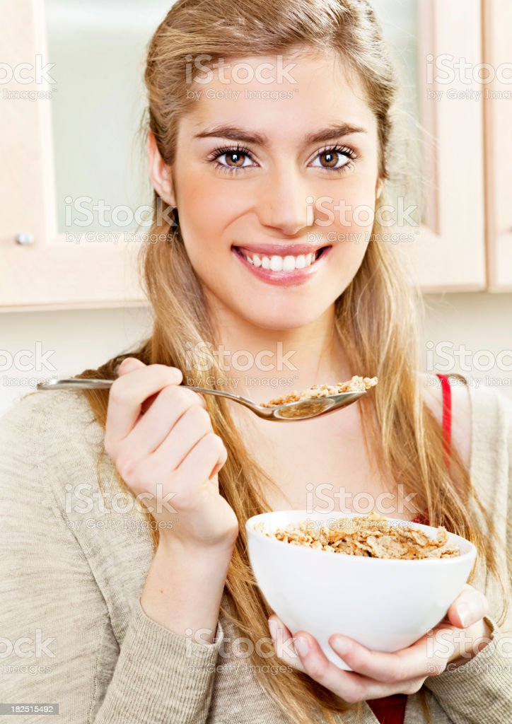 Teenager eating cereal royalty-free stock photo
