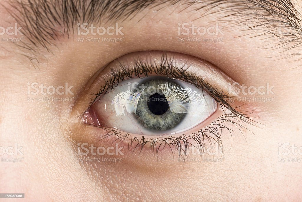 teenager eye macro stock photo