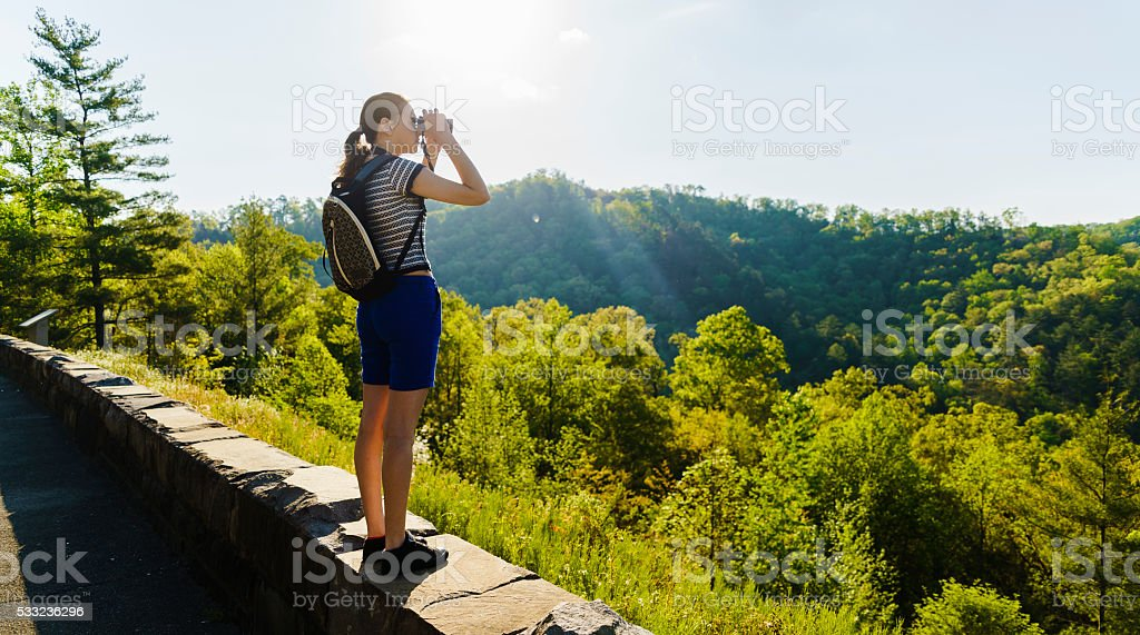 Teenager girl explore scenic view to Cherokee National Forest, Tennessee stock photo