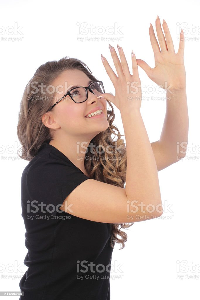 Teenager girl Gesture and teasing stock photo