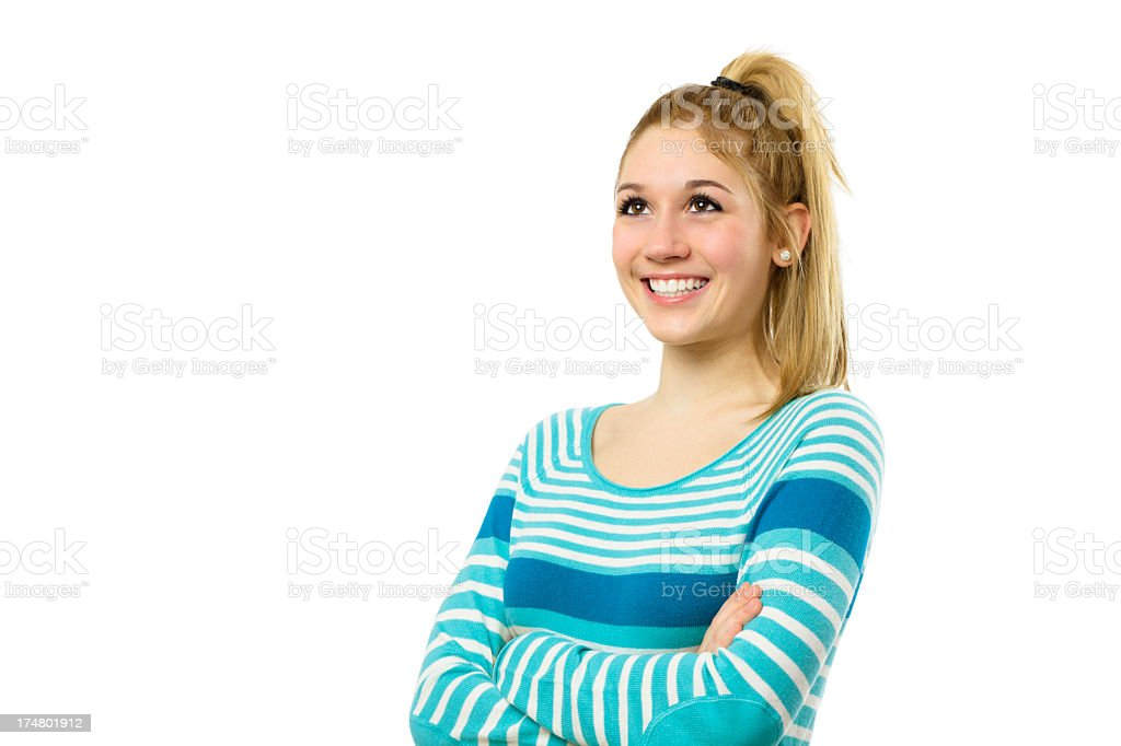Teenager girl looking up royalty-free stock photo