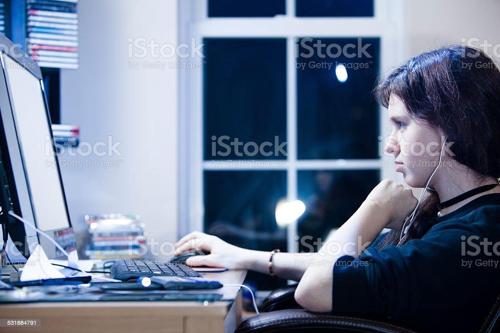 Teenager girl make a homework stock photo