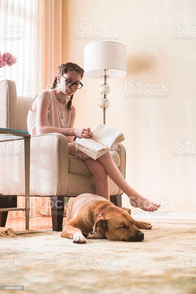 Teenager girl reads book in living room with dog nearby stock photo