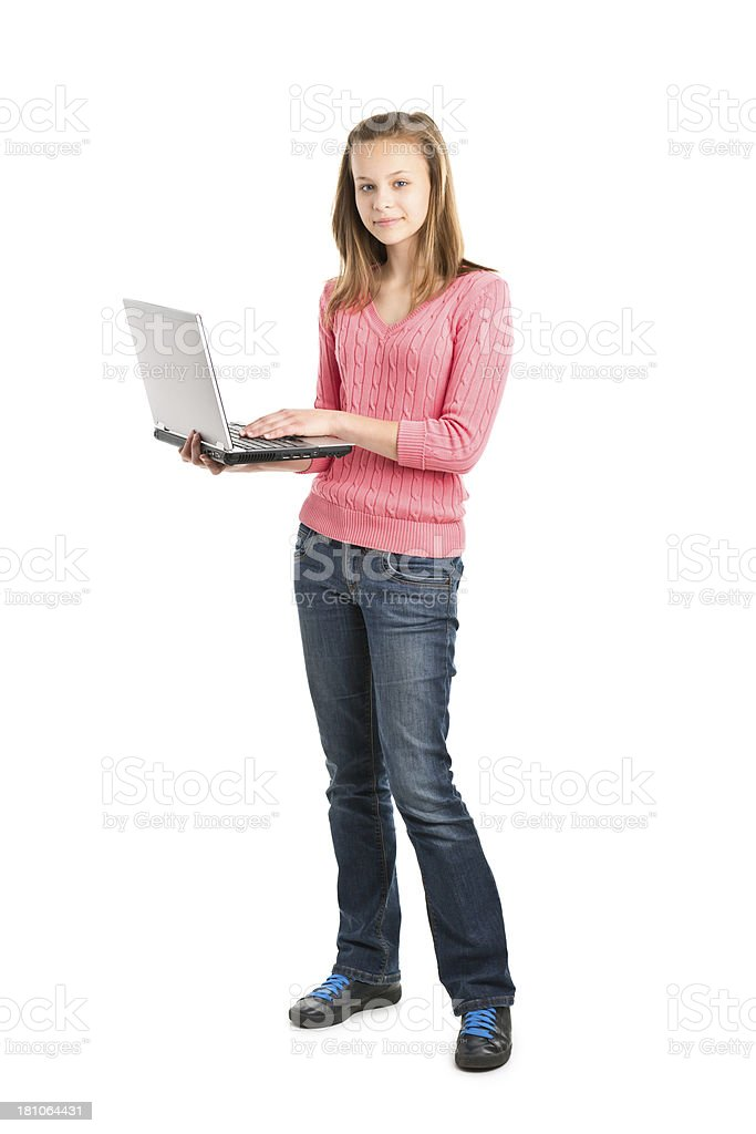 teenager girl standing with laptop royalty-free stock photo