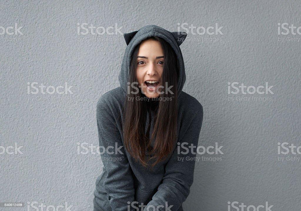 teenager girl taunts happening stock photo