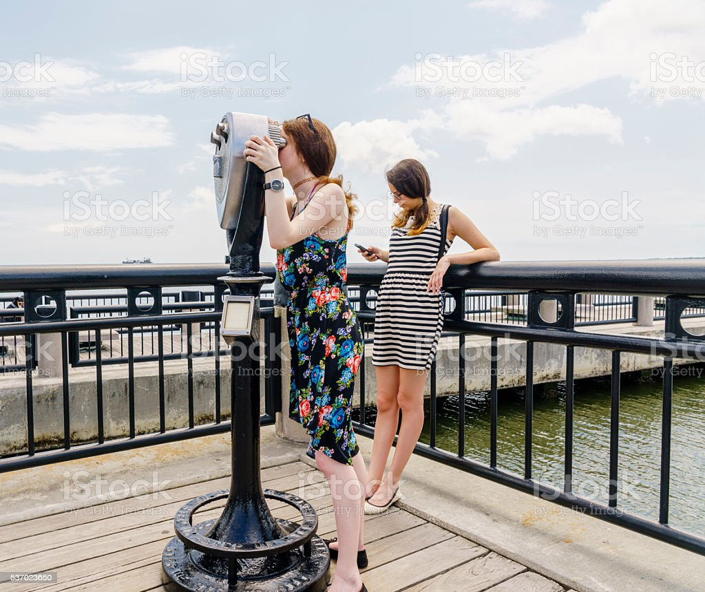 Teenager girl, tourist, in the Charleston, South Carolina stock photo