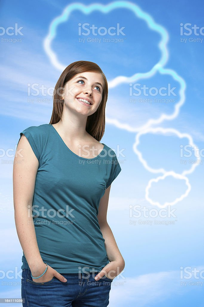 Teenager girl with blank thought bubbles royalty-free stock photo