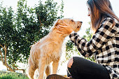 Teenager girl with cute dog