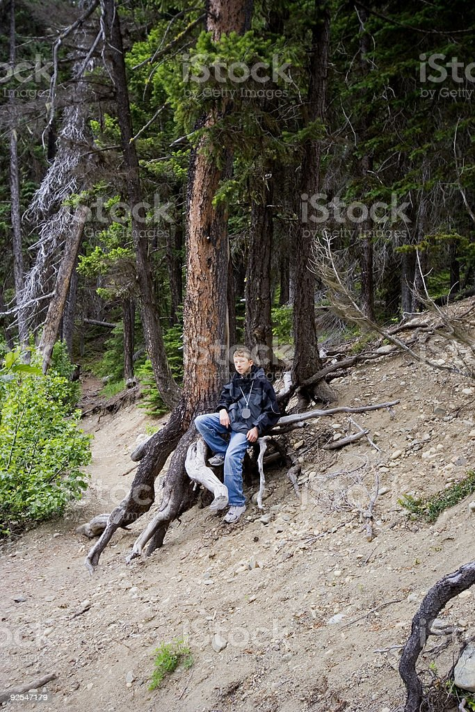 teenager having a break on roots stock photo